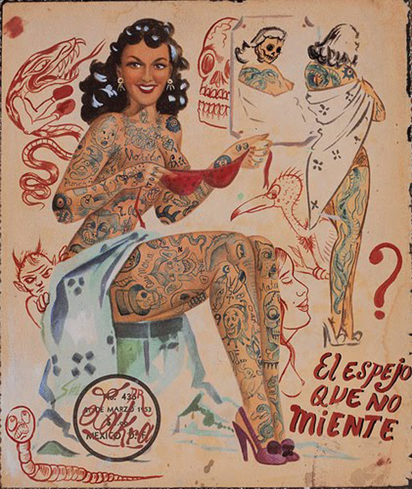 Dr. Lakra - Pinup girl tatuada con lettering rojo