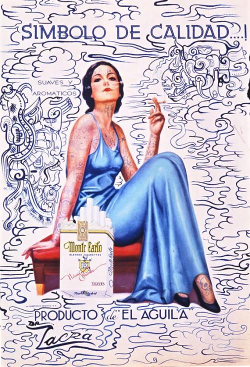 Dr. Lakra - Montecarlo - Mujer sentada con vestido azul fumando con una cajetilla de cigarrillos