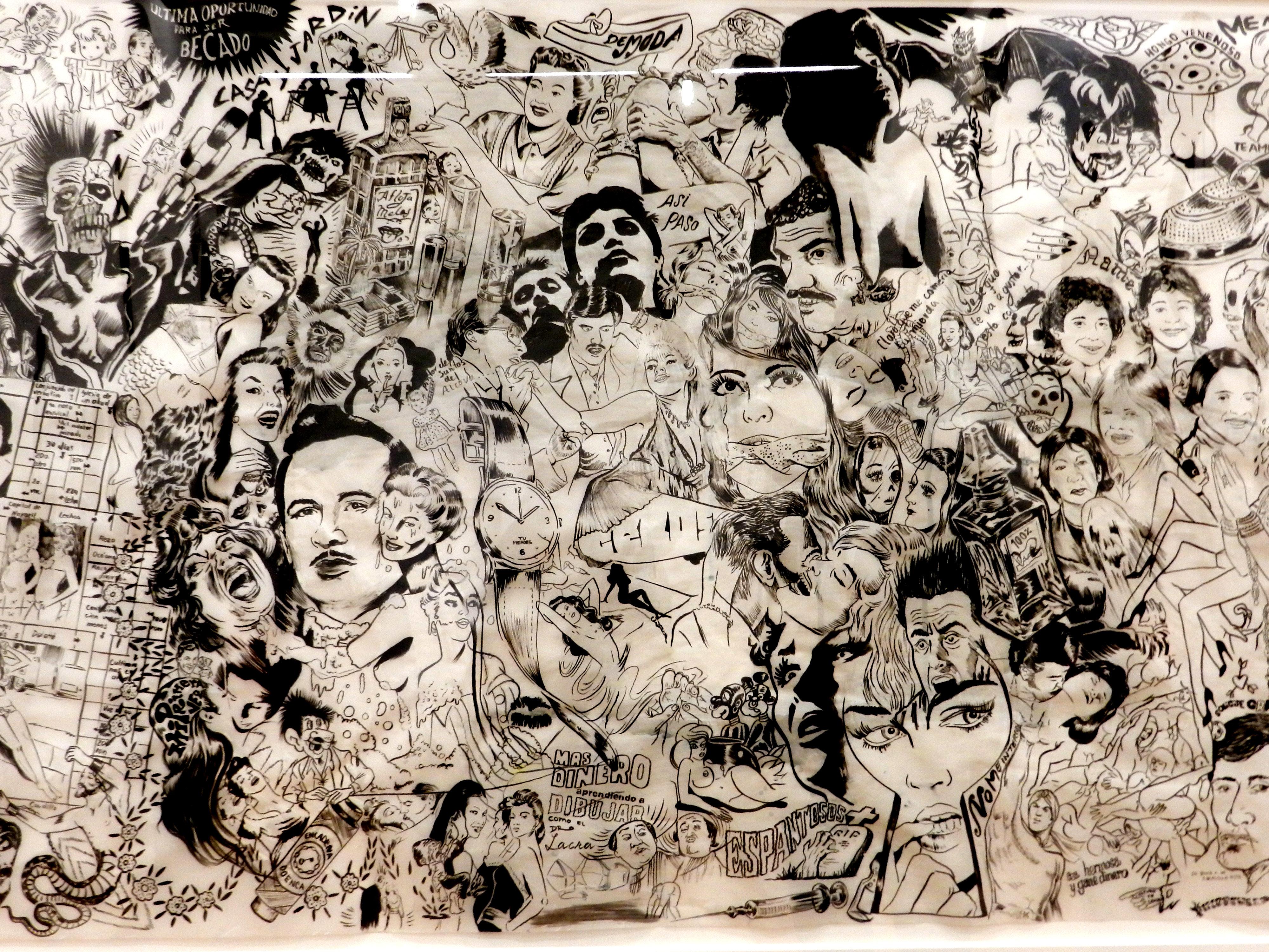 Dr. Lakra - tinta negra sobre fondo blanco con personajes de cultura popular