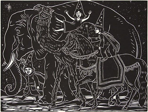 Artemio Rodríguez - Elefante, camello y caballo de los 3 reyes magos montados por niños con sombreros puntiagudos en blanco y negro