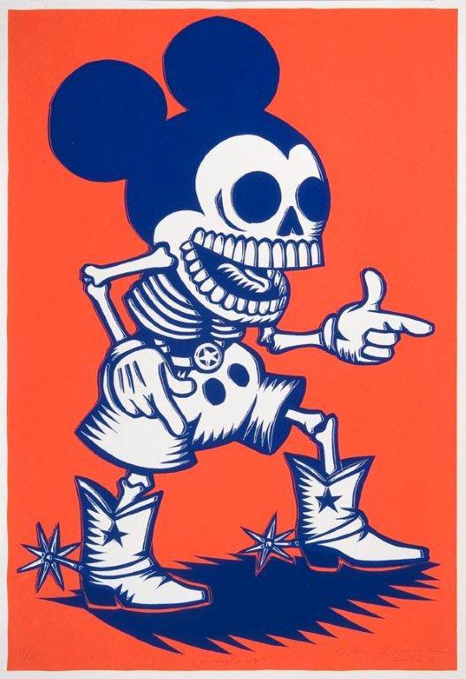 Artemio Rodríguez - Mickey - Famoso ratón mickey mouse con cuerpo de calavera y fondo anaranjado