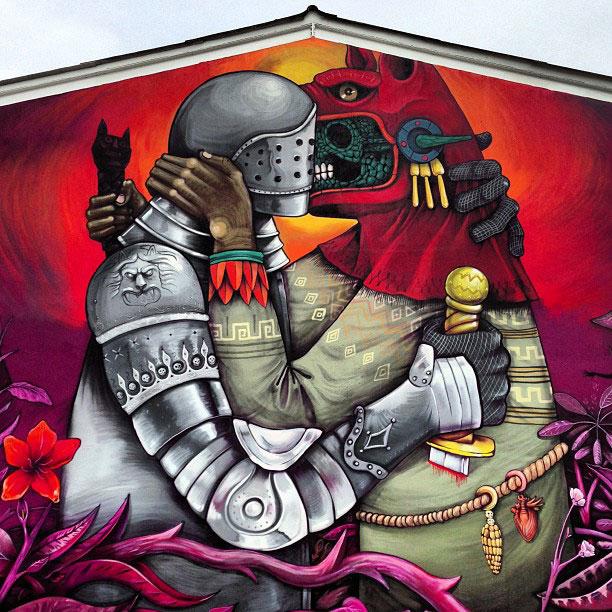 Edgar Flores Saner - Mural de un soldado de la conquista que besa a un indígena enmascarado
