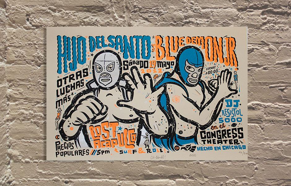 Chema Skandal - Lost Acapulco - cartel con ilustraciones de los luchadores El Santo y Blue Demon