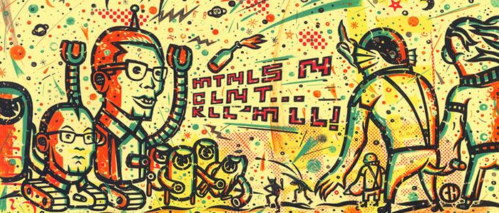 Chema Skandal - ilustración de robots contra hombres de la laguna