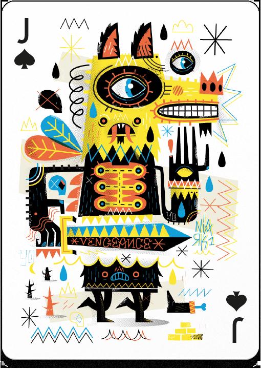 Chema Skandal - tarjeta de baraja inglesa joto con un lobo colorido