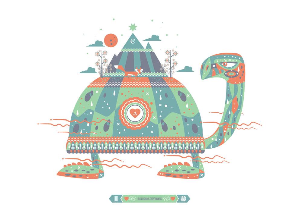Chema Skandal - La tortuga y el zorro - Tortuga grande en tonos verdes y zorro diminuto encima de su caparazón