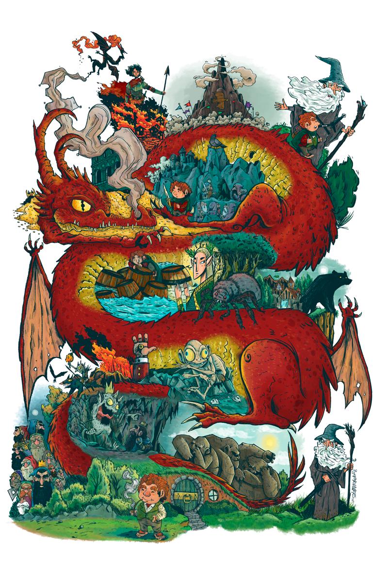 Christopher Cisneros Chope Nawers - Desolation - dragón rojo con personajes del Señor de los Anillos
