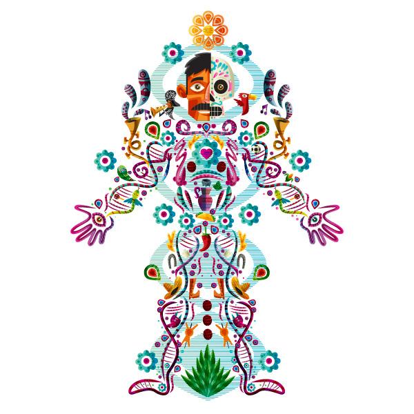 Christopher Cisneros Chope Nawers - El genoma del mexicano - ilustración de un cuerpo masculino con motivos mexicanos