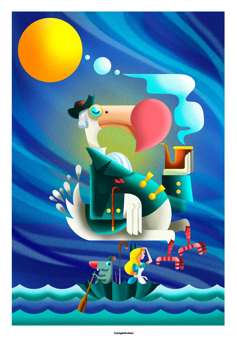 Christopher Cisneros Chope Nawers -Mr. Dodo - ilustracion de dodo colorido fumando de una pipa