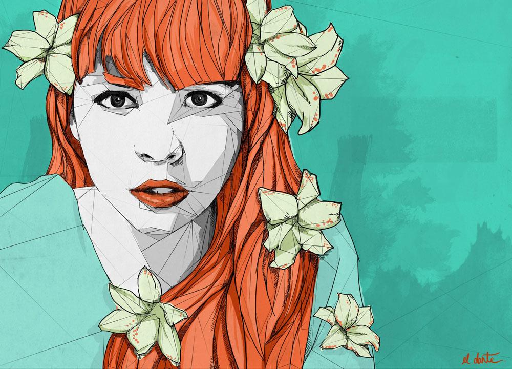 Dante Aguilera - ilustración del rostro de una chica pálida con un vestido azul turquesa
