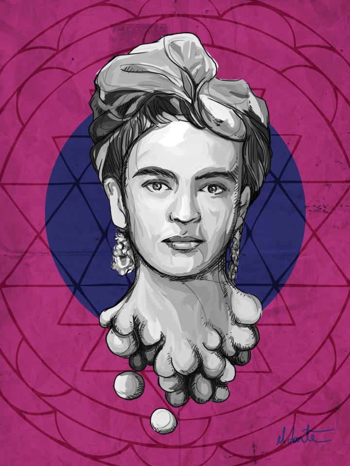 Dante Aguilera - retrato de Frida Khalo hasta el cuello con fondo rosa