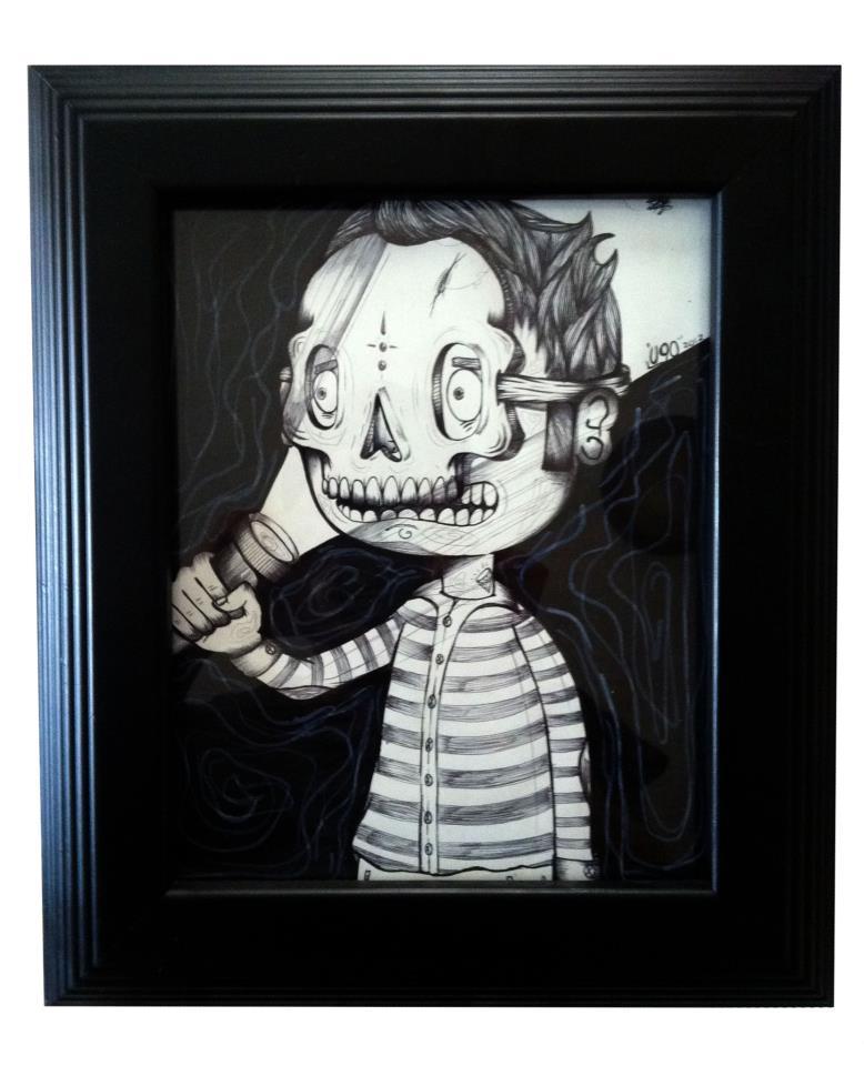 Ugo Villegas - Ilustración de un niño con una máscara sobre su rostro e iluminándose con una lámpara portátil