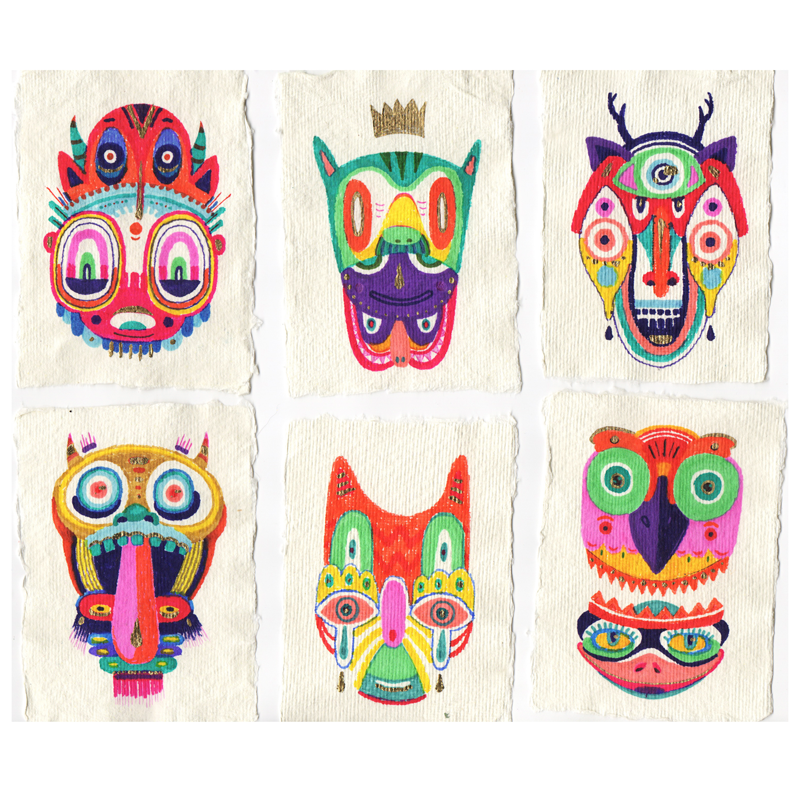 Jorge Tellaeche - Máscaras - seis diferentes más caras coloridas