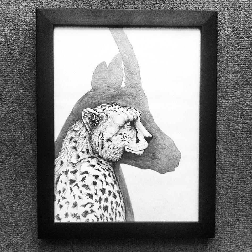 Héctor Reez - Fotografía de ilustración de un leopardo con una sombra de alce