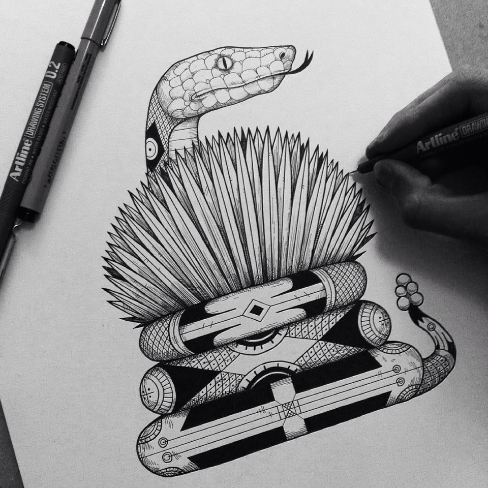 Héctor Reez - Fotografía de ilustración de serpiente que rodea un maguey con su cuerpo