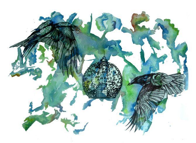 Tita López - Dos aves volando alrededor de una jaula con baño de acuarela en tonos azules y verdes