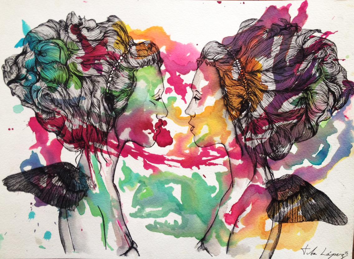 Tita López - Mujer Ave - ilustración de dos mujeres mirándose con un baño de acuarela con colores encima