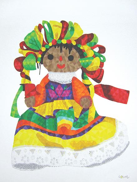 Lourdes Villagómez - ilustración de muñeca típica mexicana