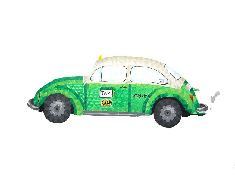 Lourdes Villagómez - volkswagen verde taxi