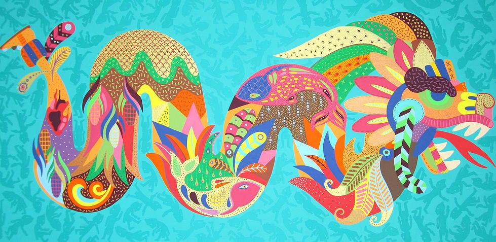 Lourdes Villagómez - ilustración de Quetzalcóatl con muchos colores