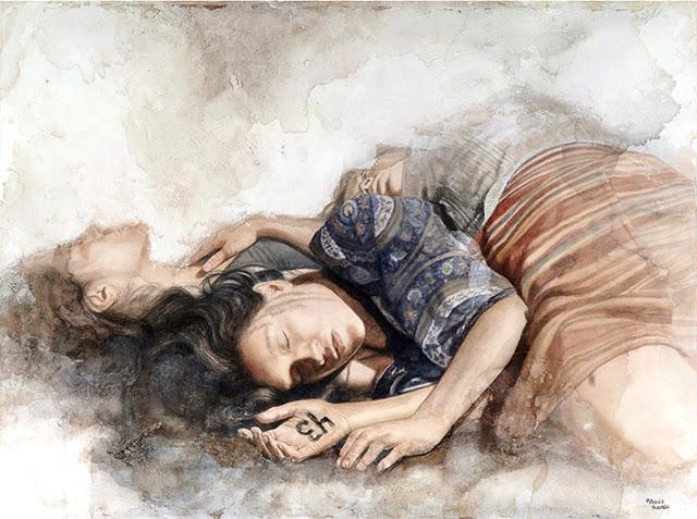 Patricia Guzmán - Pintura hiperrealista de dos mujeres recostadas y una marca con un 43 en la mano de una de ellas