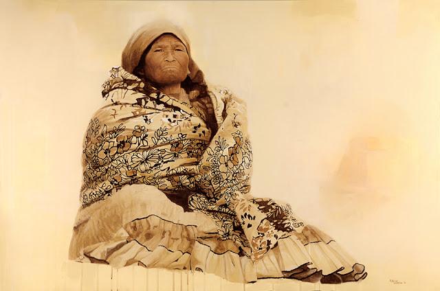Patricia Guzmán - Pintura hiperrealista de una indígena tapada con un rebozo en matices café