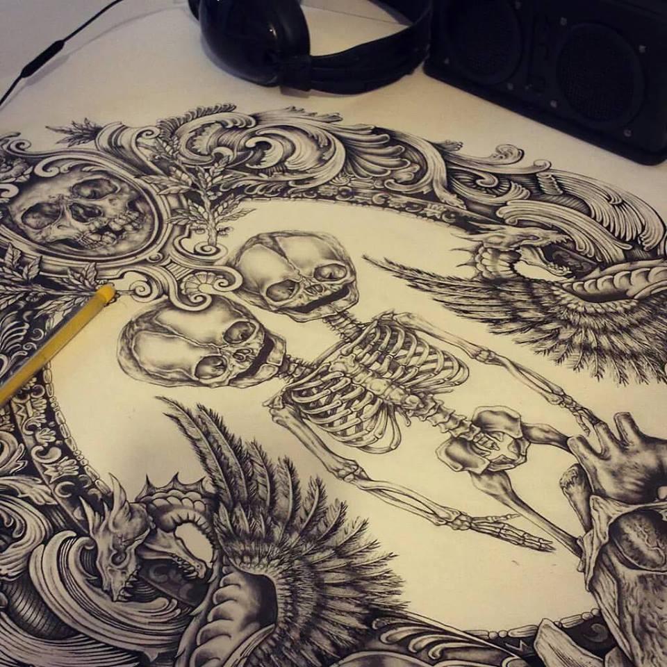 Haku - Fotografía de ilustración de un esqueleto con dos cabezas