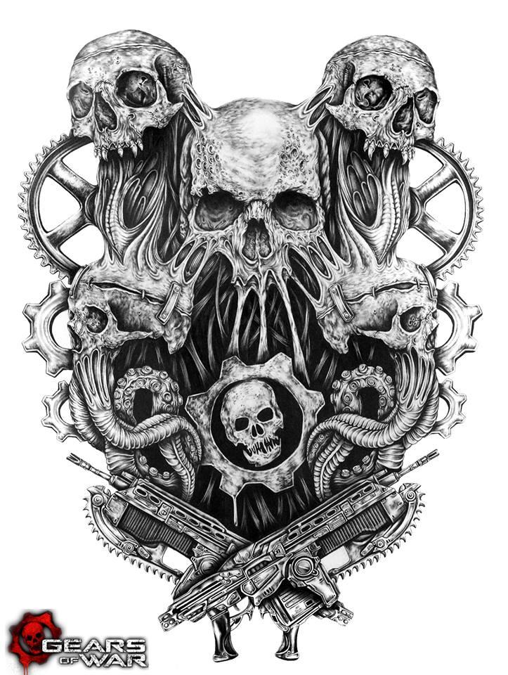 Haku - varios cráneos con el logotipo de Gears of war