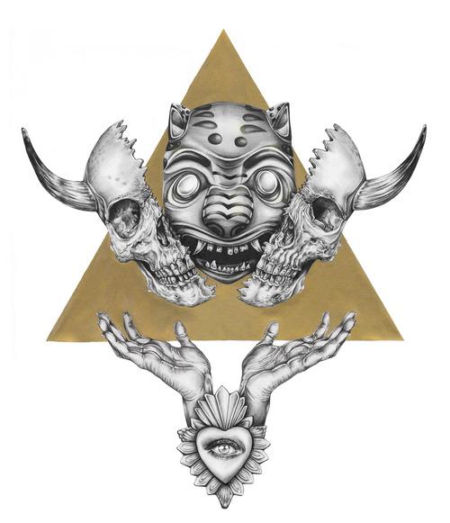 Haku - cráneo abierto por la mitad  en el centro el rostro de un jaguar y dos manos abajo con las palmas extendidas