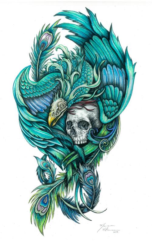 Haku - Pavorreal rodeando una calavera con su cuerpo