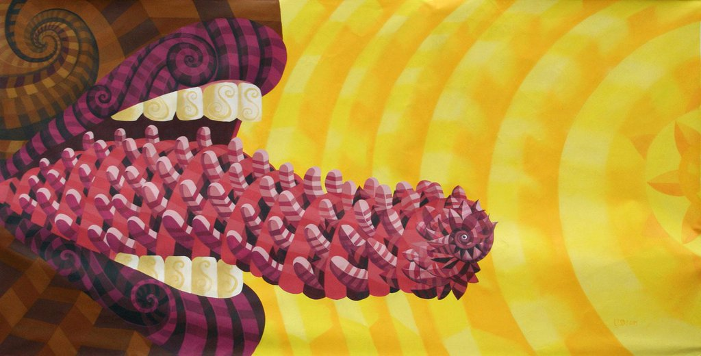Raul Sisniega - Mural de una boca con la lengua de fuera