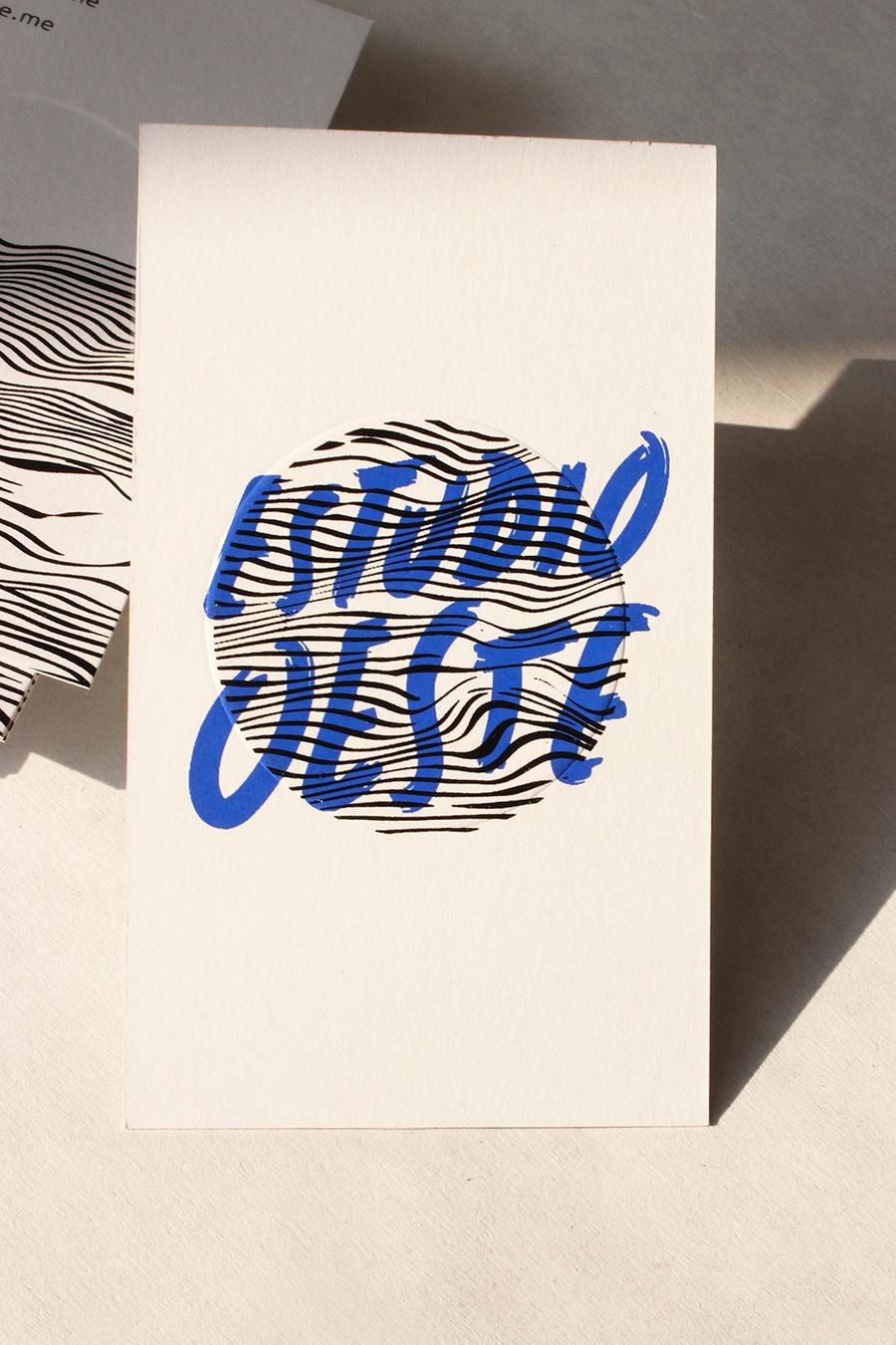 Marina Coracha - tarjeta o invitación con las palabras estudio oeste