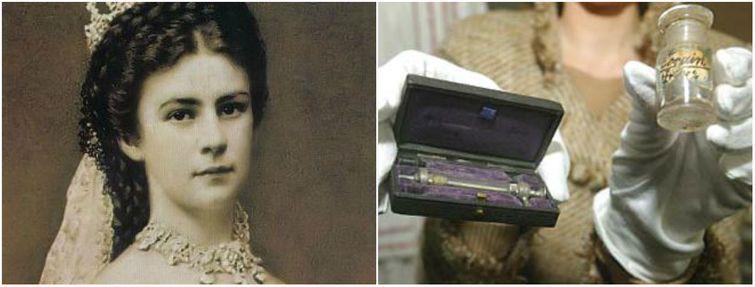 """Австрийская императрица Елизавета I (""""принцесса Сисси"""") и ее личный шприц для кокаина. Под конец жизни Елизавета страдала от депрессии, а потому, как и многие аристократы, принимала кокаин """"от хандры"""" и постоянно носила с собой шприц. история, смотреть, фото"""