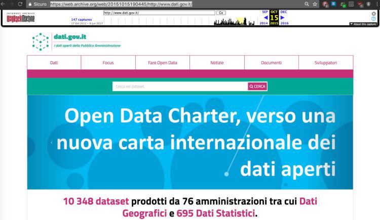 Istantanea del 15 ottobre 2015 di dati.gov.it