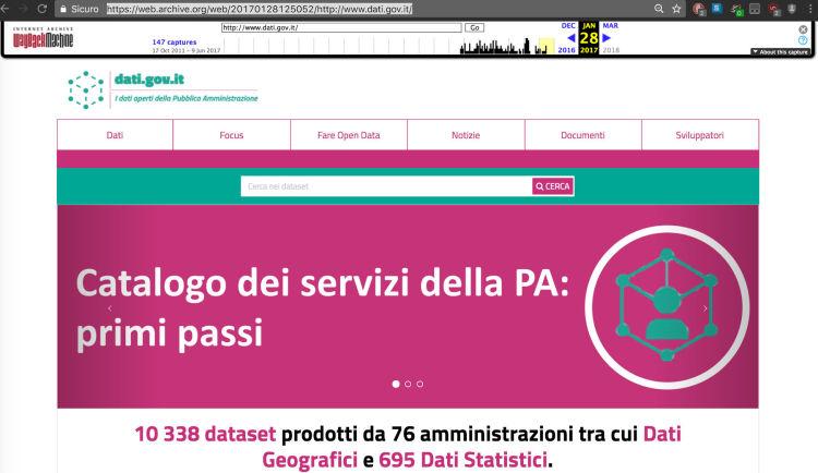 Istantanea del 28 gennaio 2017 di dati.gov.it