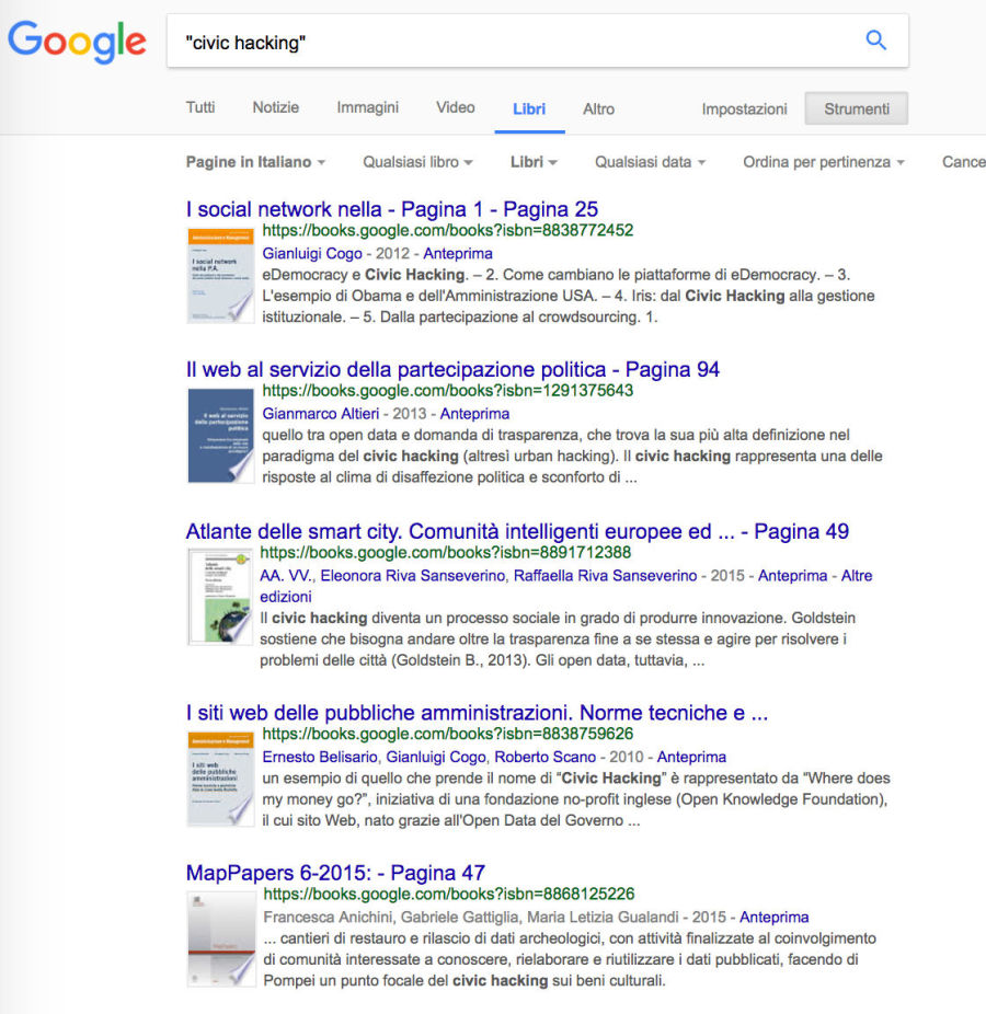 Ricerca con Google Libri: libri che parlano di civic hacking