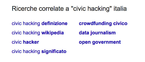 Ricerche correlate a civic hacking italia: civic hacking definizione, civic hacking wikipedia, civic hacker, civic hacking significato, crowdfunding civico, data journalism, open government