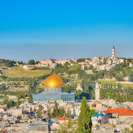 Dome of the Rock Mosque on the Temple Mount and the Mount of Olives in Jerusalem
