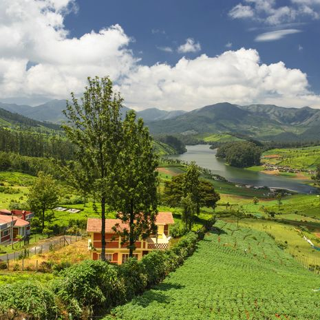 Village of Ooty overlooking the Emerald Lake, India