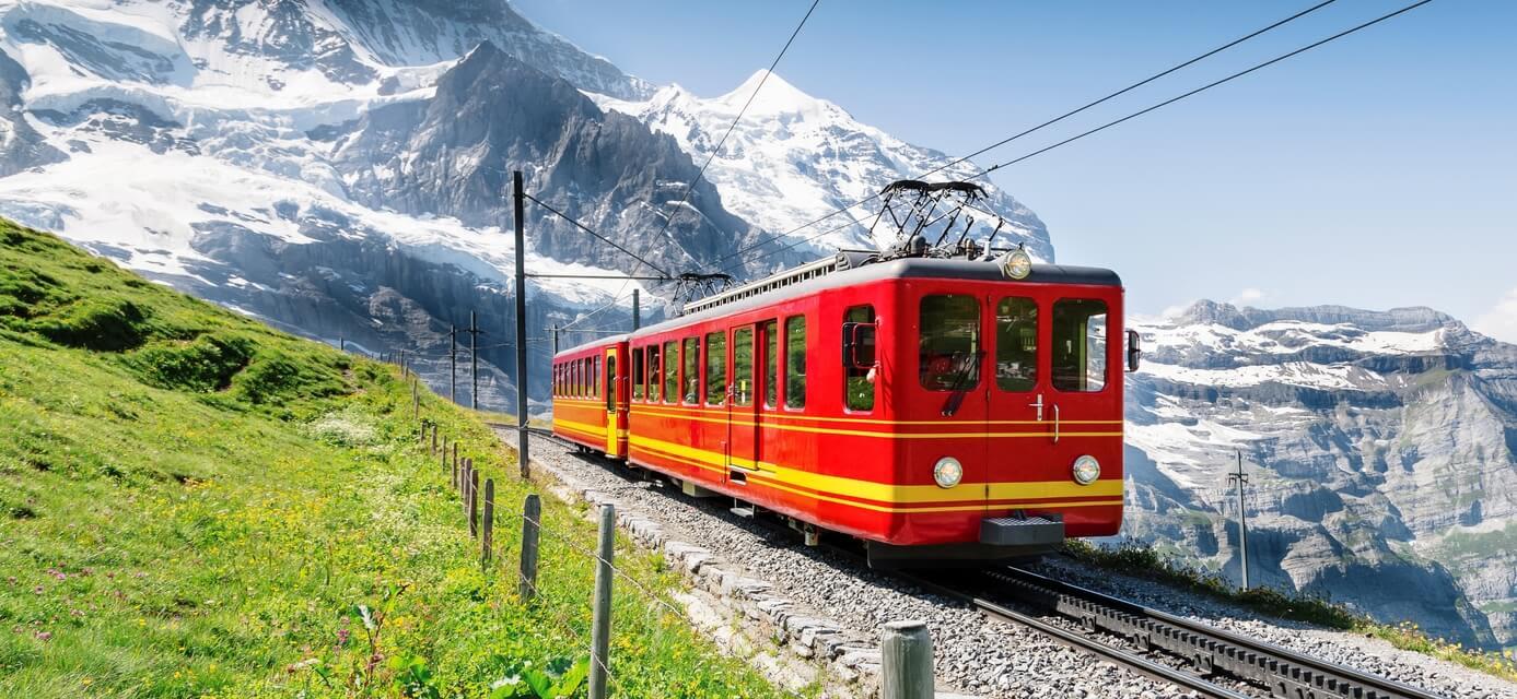 Train travelling through the Jungfrau Mountains