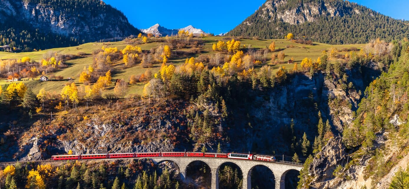 Viaduct in Swiss Mountains