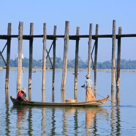 Fishermen near U Bein Bridge, Amarapura