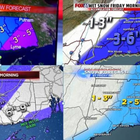 The television stations can't agree on the snowfall totals for Friday, but the Connecticut State Police say it looks like a messy commute for Friday morning. Drivers should turn on their lights, go slow and increase following distances.