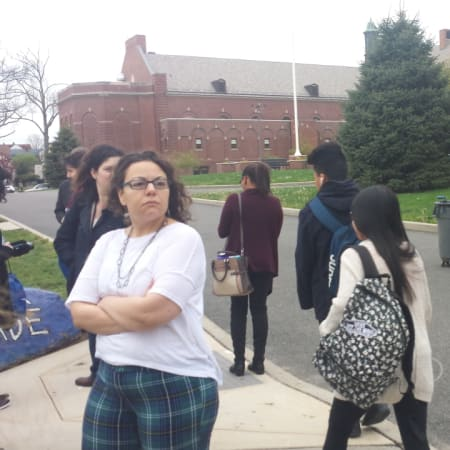 "Staff and students awaited the ""all clear"" signal Friday morning outside Port Chester High School, which was evacuated before 8 a.m. due to a suspected carbon monoxide leak."