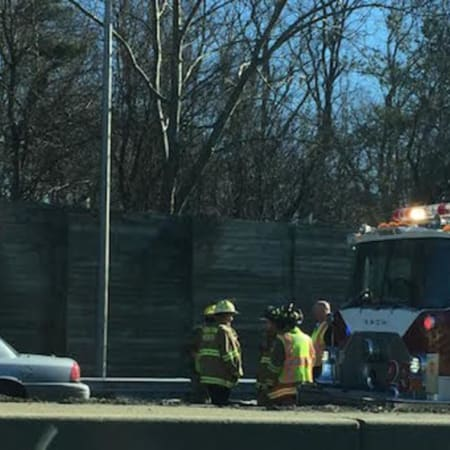 The Noroton Fire Department and the State Police are among the first responders at a fatal accident on I-95 in Darien on Tuesday.