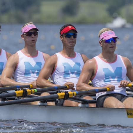 Philipp Bogdanov, Chris Petreski , Andrew Morley and David Orner finished in first place at the men's quad event at the USRowing Youth Nationals.