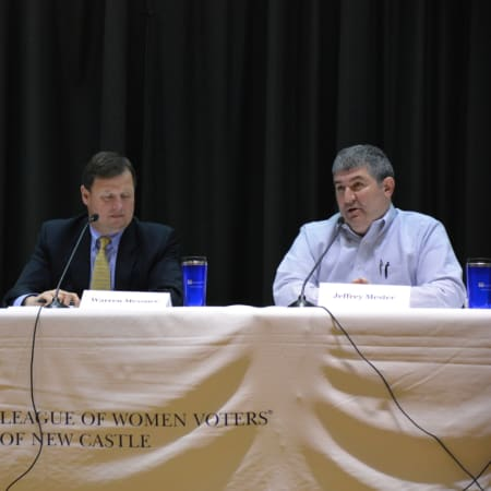 Left to right: Rhonda Kaufman, Warren Messner and Jeffrey Mester. The three are pictured at a candidates' forum.
