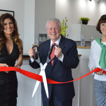 Owner Ella Sandin, First Selectman Michael Tetreau and Fairfield Chamber of Commerce President Beverly Balaz celebrate the opening of CKC Salon's second Fairfield location on Black Rock Turnpike in Fairfield.