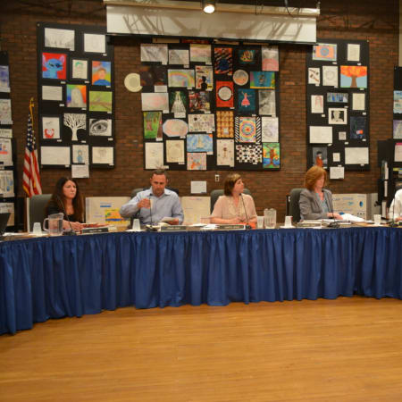 The Bedford Central school board, pictured a recent meeting