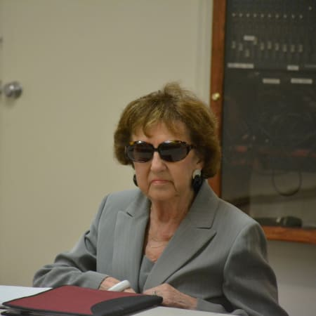 Suspended Pound Ridge Library Director Marilyn Tinter, pictured at a Thursday meeting for her disciplinary hearing.